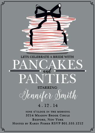 pancakes panties bridal shower invitation