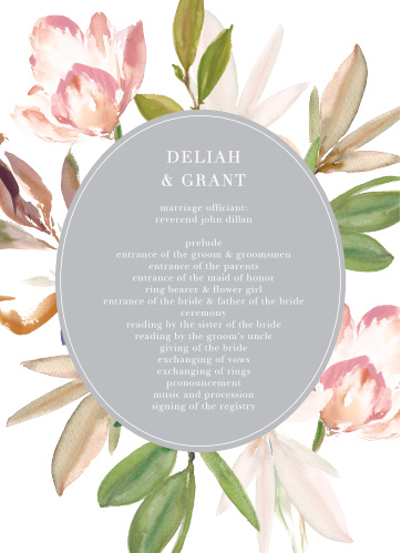 Darling Watercolor Wedding Programs