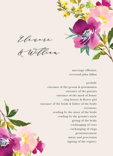 Mallow Wedding Programs