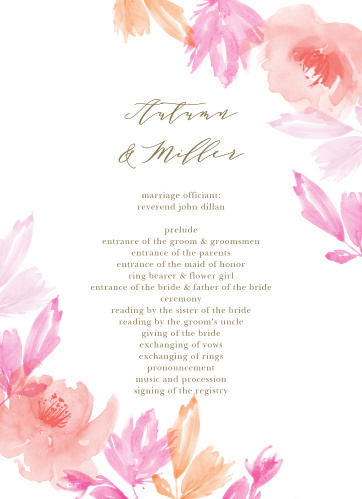 Water Rose Wedding Programs
