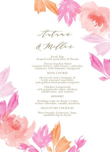 Water Rose Wedding Menus