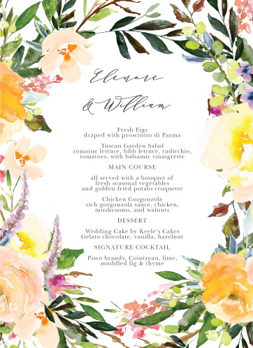 Willow Wreath Wedding Menus