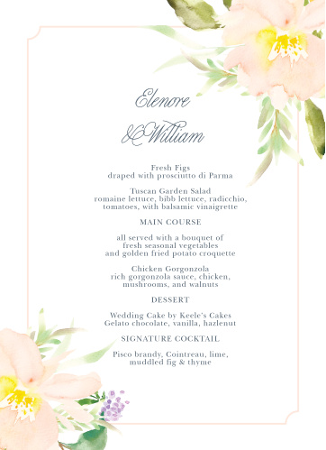 Melodious Melanie Wedding Menus