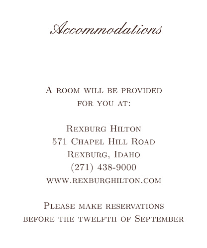 Simple Luxury Accommodation Cards