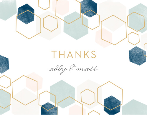 Geometric Watercolor Wedding Thank You Cards