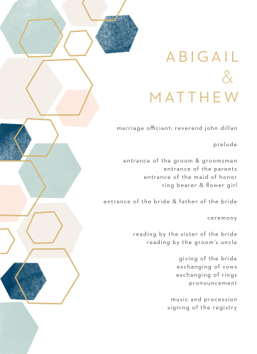 Geometric Watercolor Wedding Programs