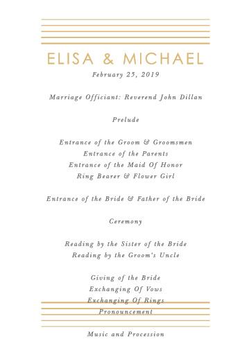 Rippled Quintet Wedding Programs