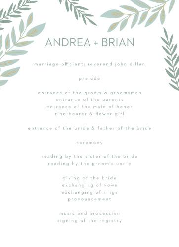 Graceful Garden Wedding Programs