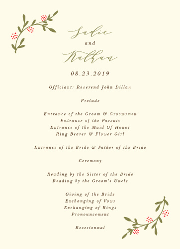 wedding programs templates match your color style free