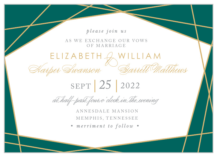 Foil Stamped Wedding Invitations | Gold, Silver & Rose Gold