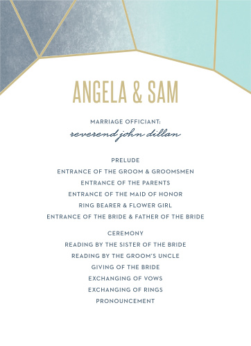 Gleaming Gemstone Wedding Programs