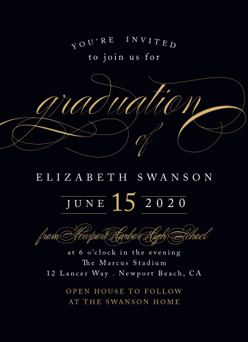 Sophisticated Swash Graduation Invitations