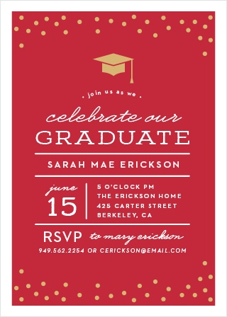 cap confetti graduation invitations