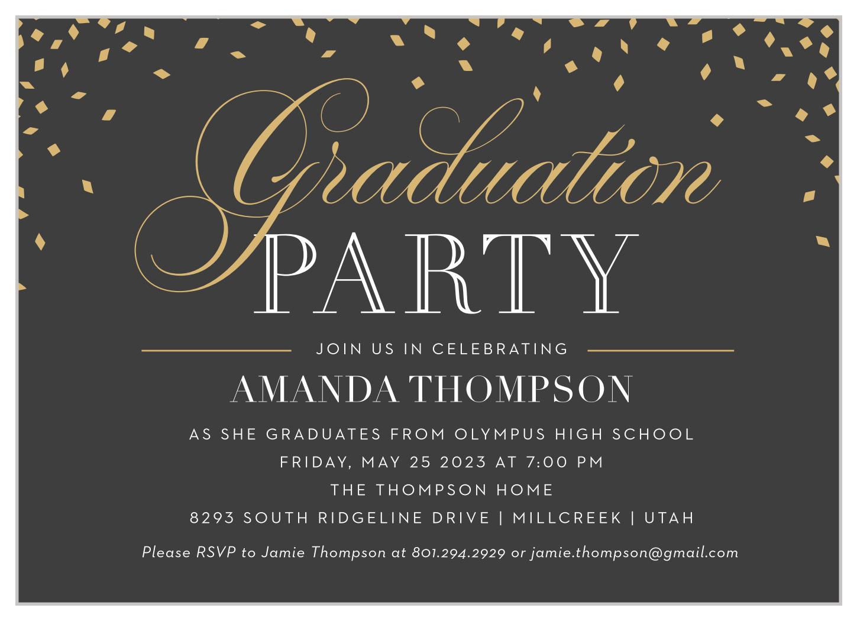 falling confetti graduation invitationsbasic invite
