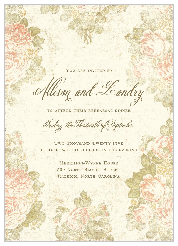 Romantic Vintage Rehearsal Dinner Invitations By Basic Invite