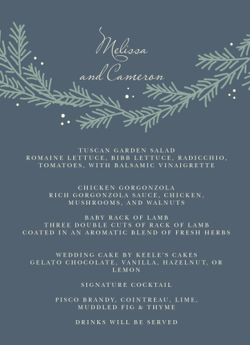 Evergreen Wreath Wedding Menus