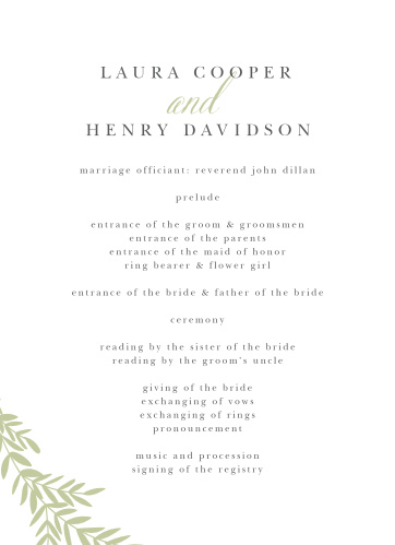 two sided wedding programs match your color style free