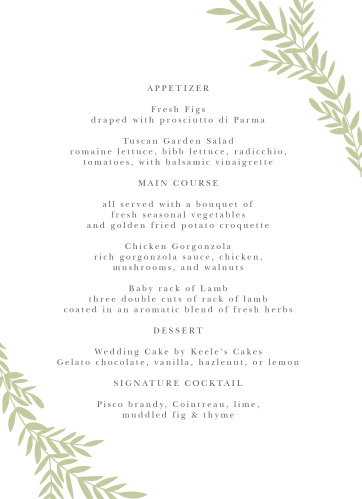 Blissful Boughs Wedding Menus