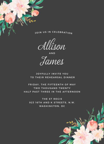 Blossoming Love Rehearsal Dinner Invitations