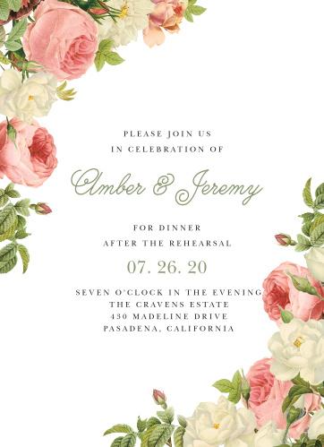 Alluring Florals Rehearsal Dinner Invitations