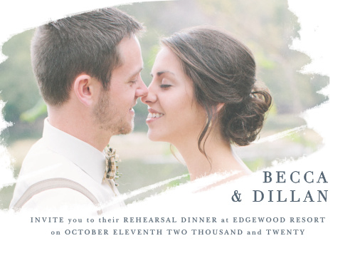 Brushstroke Bliss Rehearsal Dinner Invitations