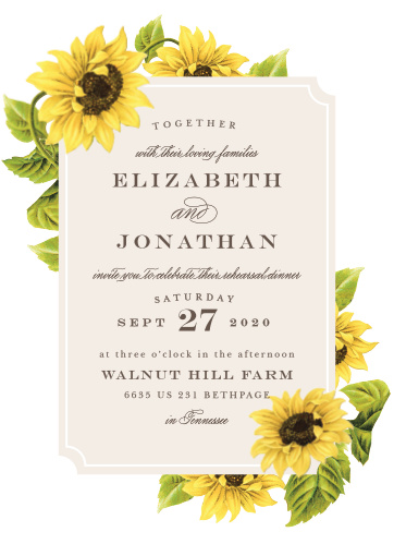Sunflower Frame Rehearsal Dinner Invitations