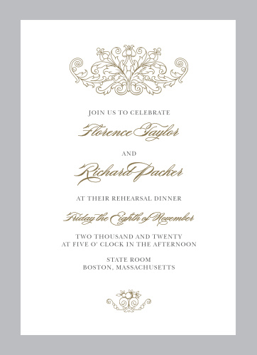 Vintage Damask Rehearsal Dinner Invitations