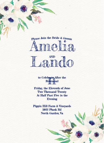 Watercolor Anemone Rehearsal Dinner Invitations