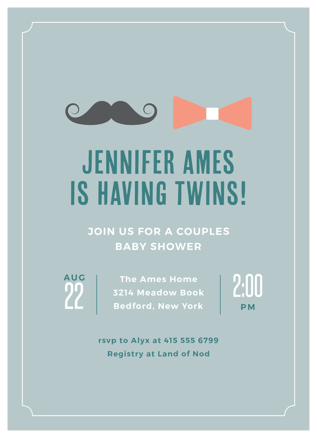 Boy And Girl Twins Baby Shower Invitation By Basic Invite