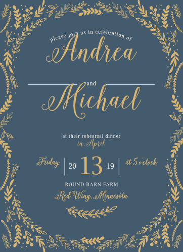 Romantic Evergreen Rehearsal Dinner Invitations