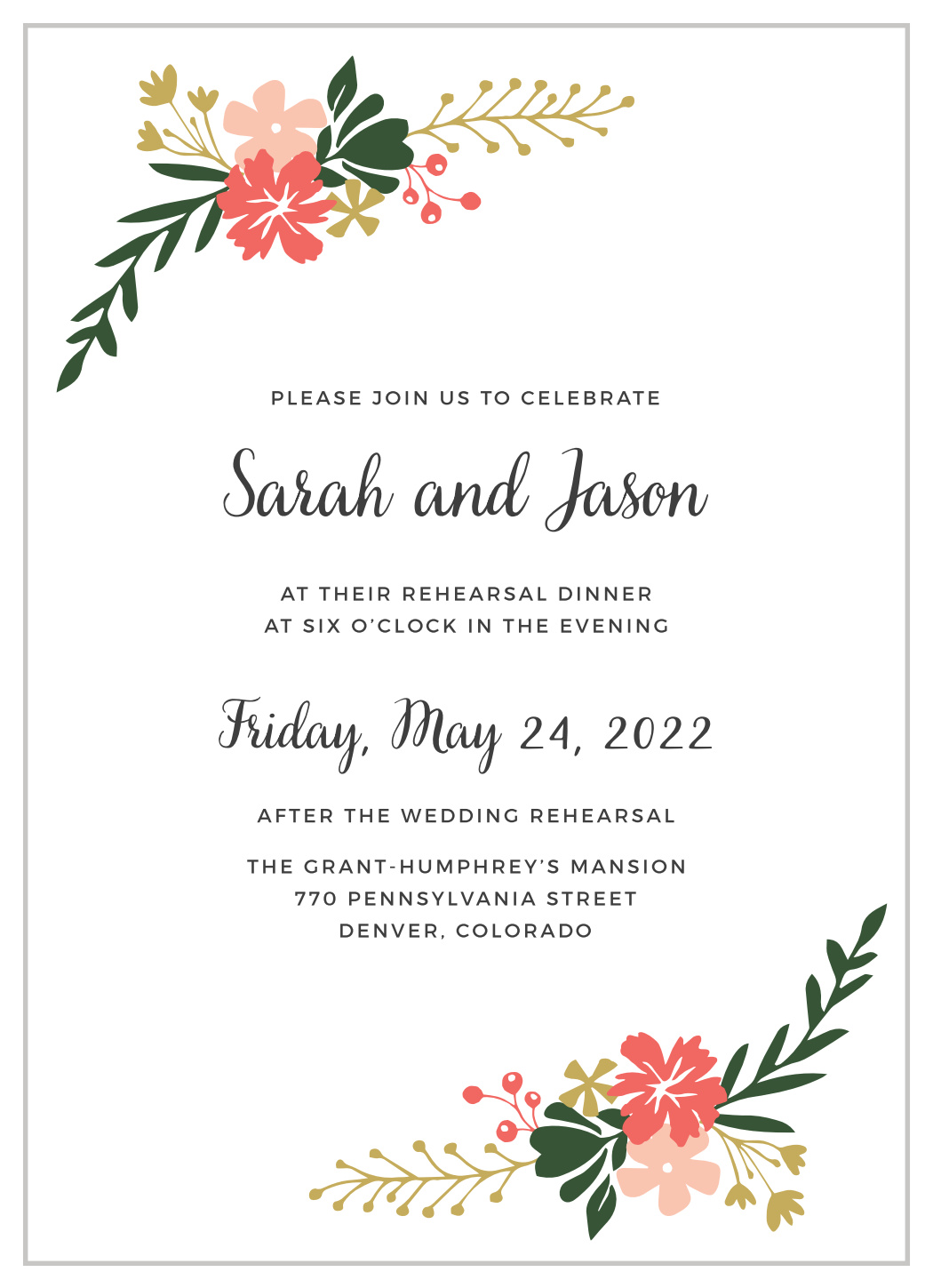 Garden Party Rehearsal Dinner Invitations