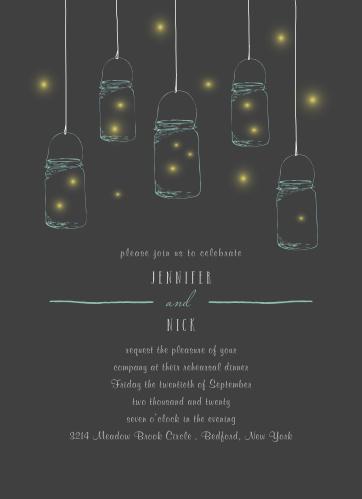 Mason Jars & Fireflies Rehearsal Dinner Invitations