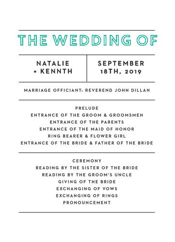Bold Outline Wedding Programs