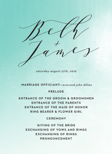 Ocean Spray Wedding Programs