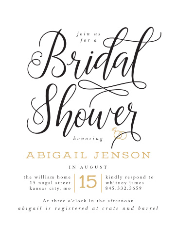 gilded bling bridal shower invitations