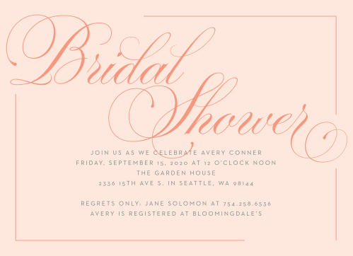 glamorous calligraphy bridal shower invitations