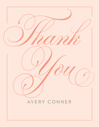 Glamorous Calligraphy Bridal Shower Thank You Cards