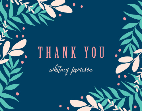 Leafy Corners Bridal Shower Thank You Cards