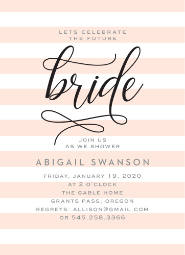 lovely bride bridal shower invitations