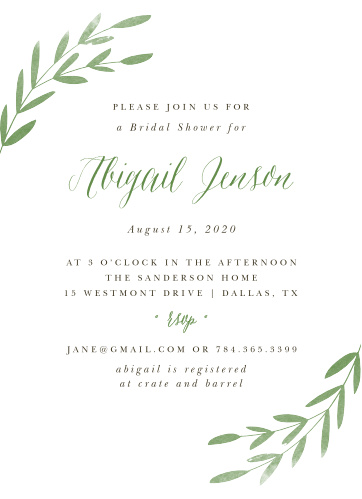 spring leaves bridal shower invitations