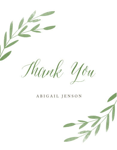 spring leaves bridal shower thank you cards