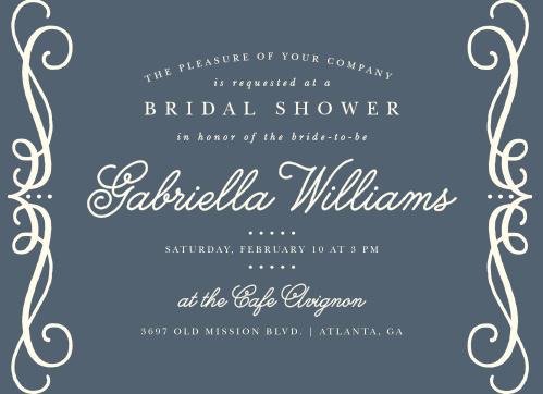 swirling script bridal shower invitations