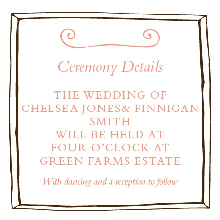 The Country Chic Ceremony Cards