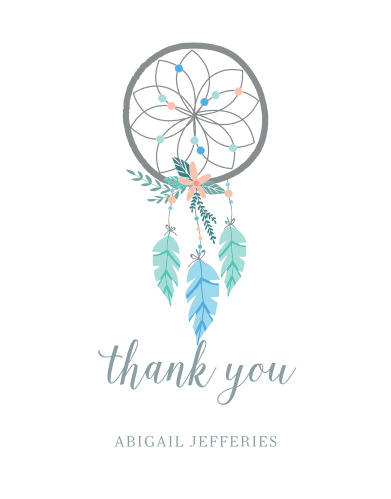 Dream Catcher Baby Shower Thank You Cards