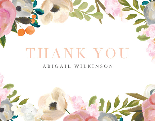 Gouache Blooms Baby Shower Thank You Cards