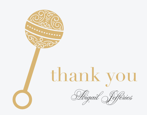 Ornate Rattle Baby Shower Thank You Cards