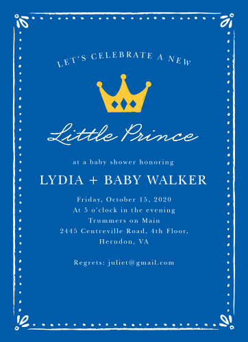 King Baby Shower Invitations Match Your Color Style Free