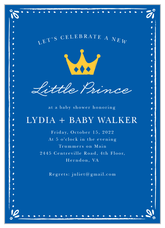 photograph relating to Free Printable Prince Baby Shower Invitations identified as Prince Kid Shower Invites - Recreation Your Colour Design and style No cost!