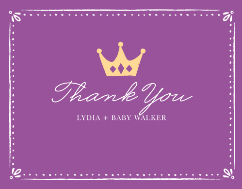 Sweet Princess Baby Shower Thank You Cards