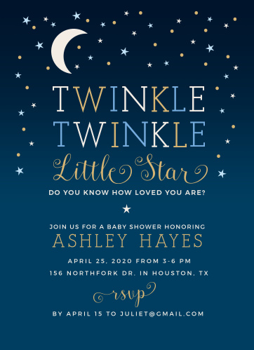 twinkle twinkle little star baby shower invitations match your